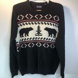 Chaps Nordic Polar Bear Fair Isle Sweater Mens XL